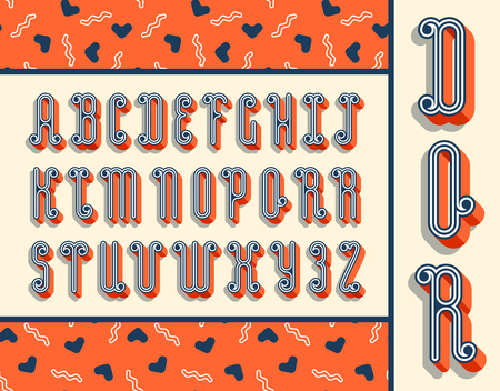 typescript: Graphical bright font with 3d effect shadow. Vector modern design typescript plus seamless pattern.