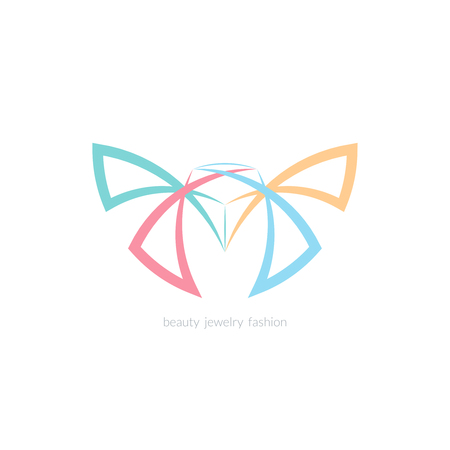 wing logo: Diamond and butterfly logo, sign, symbol. Line color vector emblem for beauty, jewelry, spa, fashion.