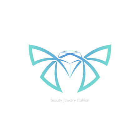 fashion jewelry: Diamond and butterfly logo, sign, symbol. Line color vector emblem for beauty, jewelry, spa, fashion.