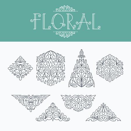 mono: Thin mono line floral decorative design elements, set of isolated ornamental shapes.