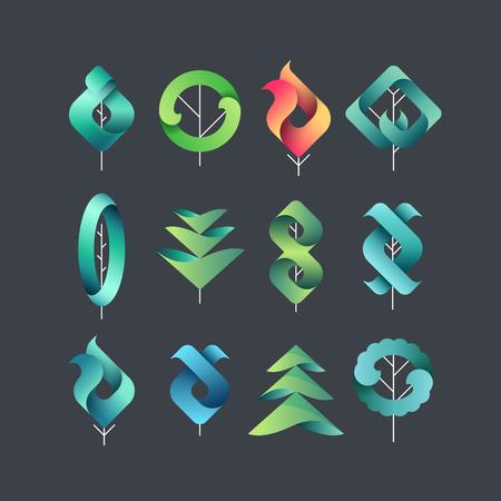 色 gadient の幾何学的な葉、木、分離記号, ベクトル デザイン エコと暗い背景のための植物の要素のセットします。 写真素材 - 56582102