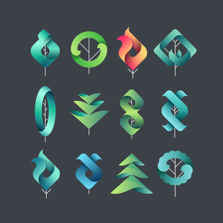 Color gadient geometrical leaves, trees, set of isolated symbols, vector design eco and botanical elements for dark backgrounds.
