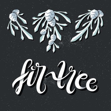 adapted: Vector decorative fir tree branches with pine cones, adapted for dark backgrounds and lettering. Christmas and New year isolated decorations and graphical elements.