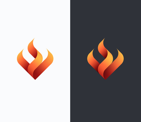 Fire, flame concept, vector isolated conceptual symbol, logo, logotype. 向量圖像