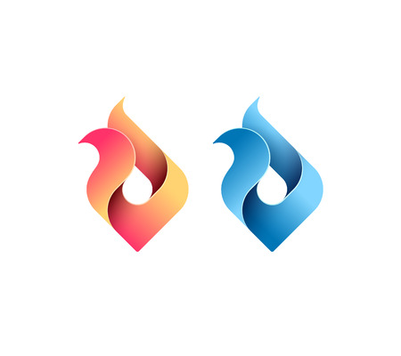 fire symbol: Fire, flame, gas, energy concept, vector isolated conceptual symbol, logo, logotype. Illustration