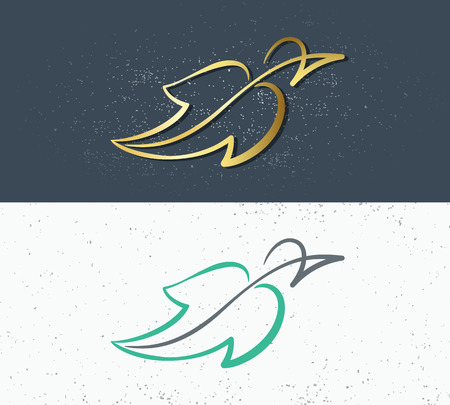 Two vector symbols of nature, bird shaped as leaf. Eco logo, concept of clean nature, both for flora and fauna.