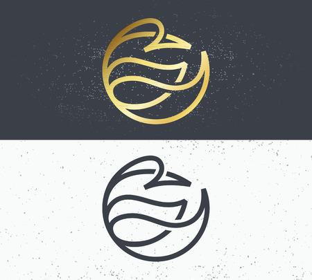 Two vector symbols of nature, line bird. Monoline logo, simple geometrical sign.