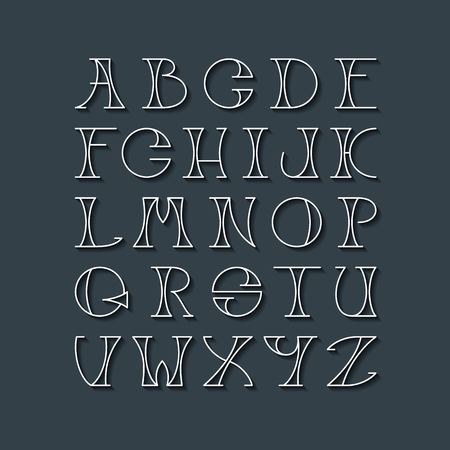 typescript: Latin elegant thin line typescript. Capital letters with shadows for dark background, white outline font. Illustration