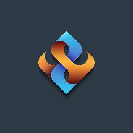 Astratta emblema, concetto di design, logo, elemento logotipo. Energia, fiamma, forma vettoriale gas.