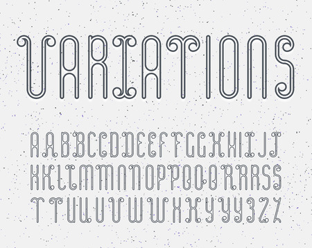 indentation: Vector mono line decorative font for dark backgrounds. Latin alphabet of outline letters. Some variations of letters for better kerning. With light effect of indentation for light and grey backgrounds. Illustration
