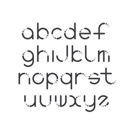 latin: Line and circle latin font, graphical decorative type.