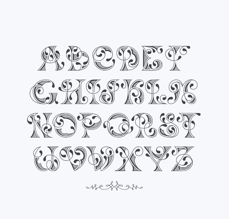 Vector elegant retro graphical decorative font. Latin alphabet of vintage letters.