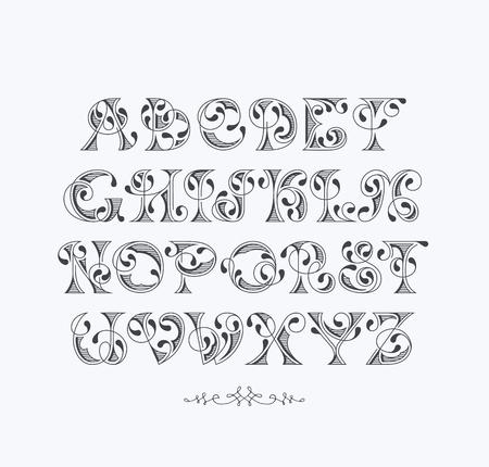 initial: Vector elegant retro graphical decorative font. Latin alphabet of vintage letters.