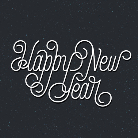 happy new year banner: New year and Christmas postcard, line lettering inscription, black banner with white words Happy New Year. Illustration