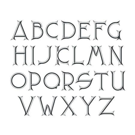 beveled corners: Decorative serif latin font. Graphical sharp corners chisel capital letters. Monochromatic empty isolated objects. Illustration