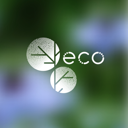 White symbol for ecological, natural concept. Clean, eco products on a blurry background