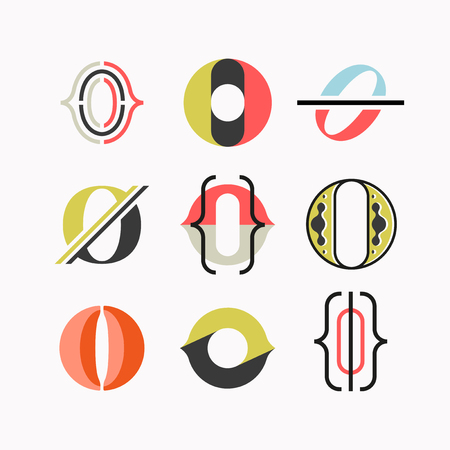 drop cap: Abstract O letter symbols, drop cap isolated. Set of graphical geometrical monograms.