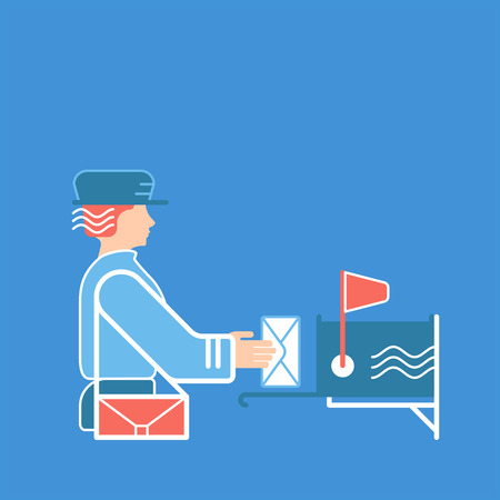 mailer: Mail and postal service concept. flat and line illustration with postman or postwoman, with letter, correspondence and mailbox. Illustration