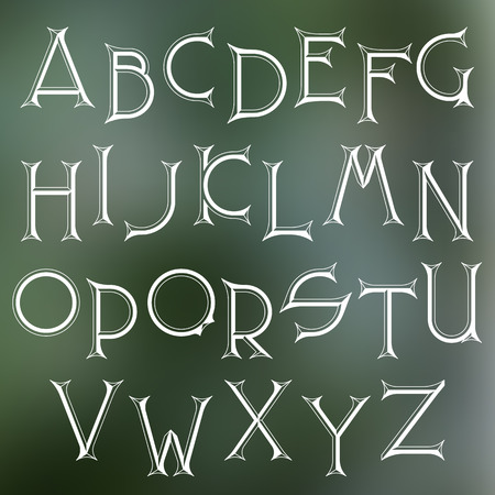graphical: Decorative serif latin font. Graphical sharp corners chisel capital letters. Monochromatic empty isolated objects. Illustration