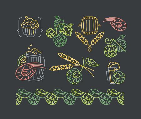 mono: Beer, hop mono line elements for menu, package, design. Vector contour flat, emblems, decorations. Illustration