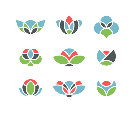 floristics: Geometrical flowers, floral and floristics icons, set of isolated symbols, signs. Only color shapes, no white lines in vector. Illustration