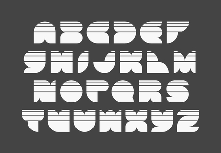 geometrical: Geometrical shapes light striped font, vector monocolor typeface of latin capital letters. Illustration
