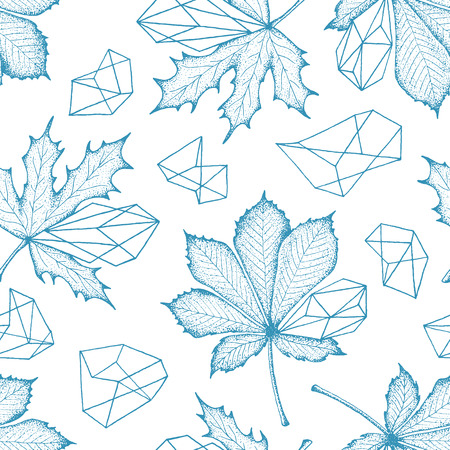 monochromatic: Monochromatic seamless botanical pattern. Outline leaves with geometrical elements vector hand drawn background.