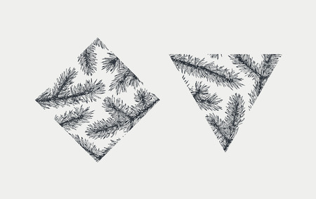 graphical: Hand drawn winter and Christmas design elements, vector geometrical shapes, no clipping mask, monochromatic graphical fir tree branches.