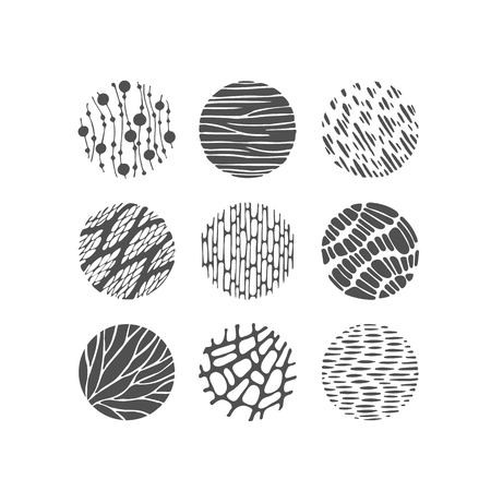 graphical: Black textured graphical design elements, vector pattern circles, round monochromatic decorations.