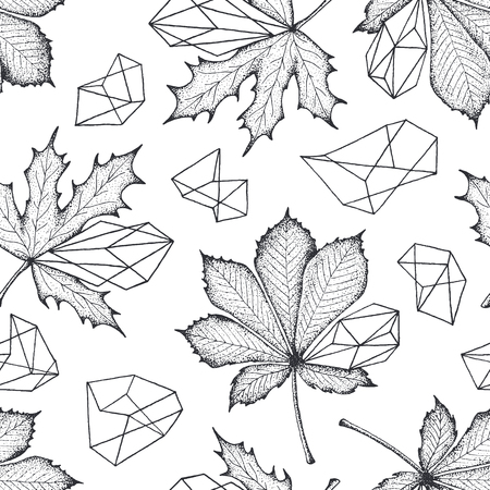 geometrical: Monochromatic seamless botanical pattern. Leaves with geometrical elements vector hand drawn background.