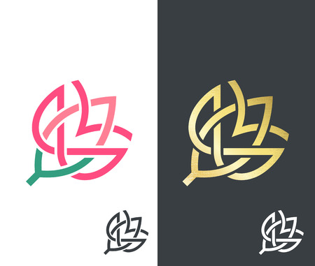 golden color: Vector flower: golden, color and monochromatic. Abstract floral emblem, icon.