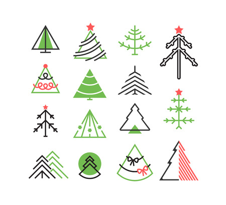 graphical: Vector set of graphical color Christmas tree icons, signs, symbols.