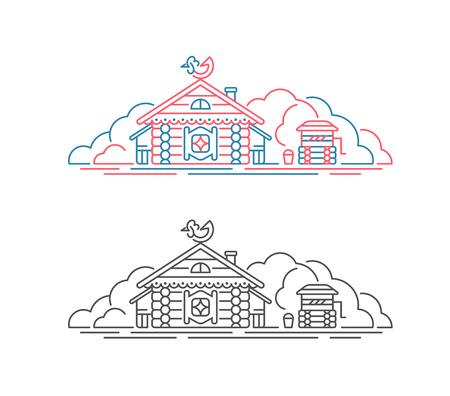 Vector slavic historical house, ancient traditional building, izba. Russian village line illustration. Illustration