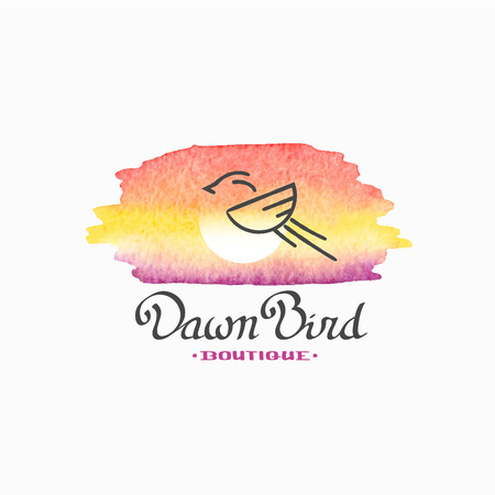 handlettering: Watercolor and handlettering, bird and dawn sky, sun illustration. Nature tag, label, element for design.