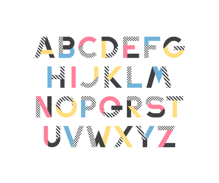 graphical: Geometrical pattern and color blocks latin font, pop art graphical decorative type.
