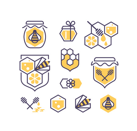 apiculture: Set of line and color bee and honey icons. Vector symbols collection.