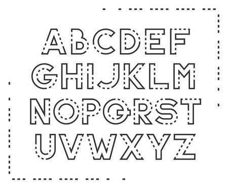 dashed: Dotted line latin font, graphical decorative type.