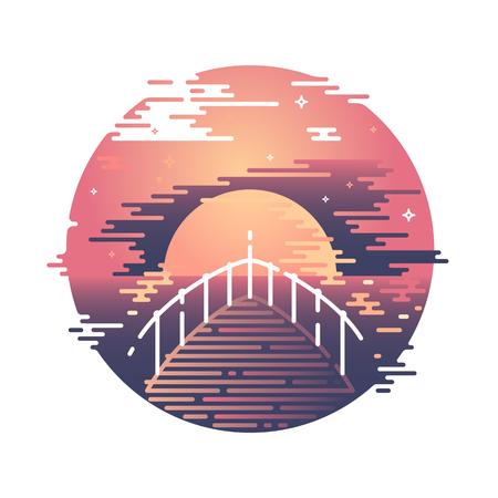 evening sky: Flat line sunset and boat illustration. Summer evening sky color graphical vector print. Illustration