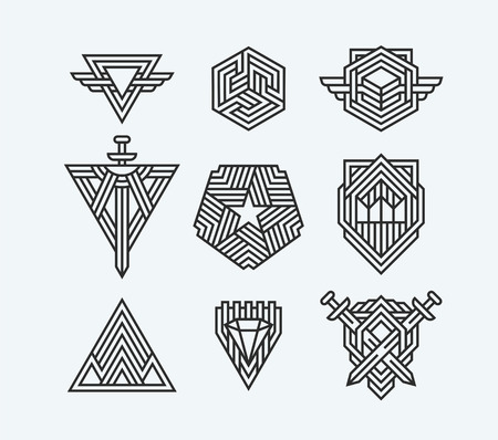 Package of abstract geometric symbols, line logotypes and design elements.