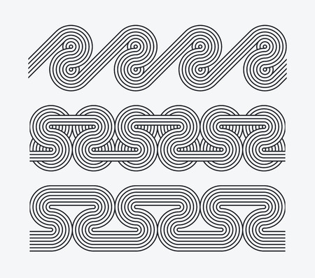 set of seamless ornamental borders, brushes, patterns. Twisted parallel line ornaments.