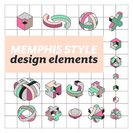 engeneering: Set of geometrical shapes in Memphis style, isometric color, pattern and outline design elements.