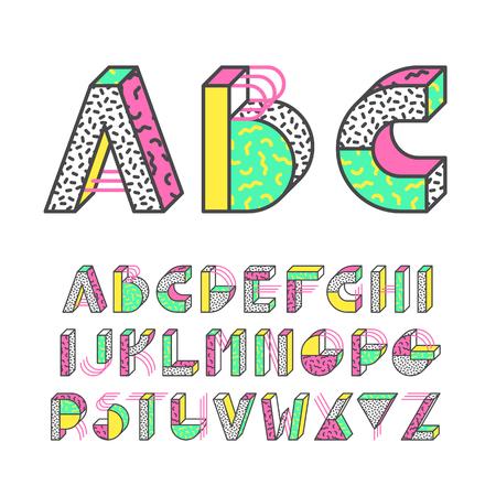 Memphis style geometrical color outline latin font, graphical decorative type Vektorové ilustrace