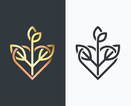 new plant: leaf golden shape and monochromatic one with heart and plant.