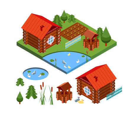 slavic historical house, ancient traditional building, izba. Country private farming home isometric illustration and set of design elements.