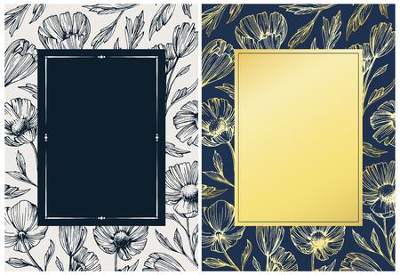 orígenes botánicos florales con flores y hojas abstractos dibujados a mano. La cubierta decorativa botánico, paquete, de impresión.