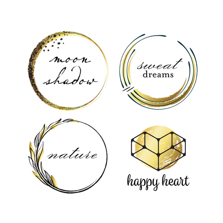 graphical: Graphical labels with hand drawn scratched circles and leafs, black and golden package. Illustration