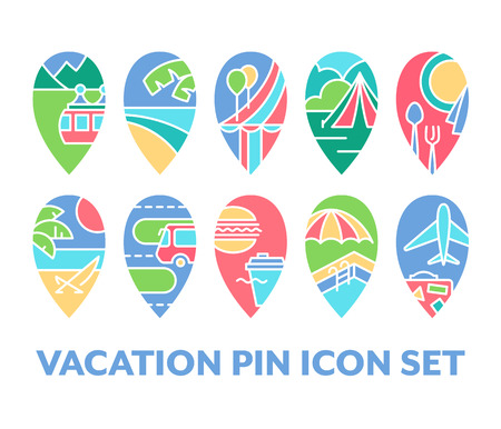 loungers: Bright set of vacation pin icons, pack of color design navigation symbols. Illustration