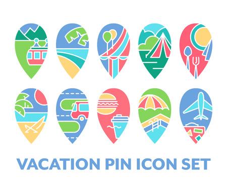 Bright set of vacation pin icons, pack of color design navigation symbols. Illustration