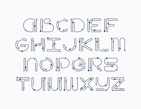 graphical: Line and color elements latin font, graphical decorative color type.