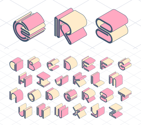 graphical: Isometric geometrical color outline latin font, graphical decorative type